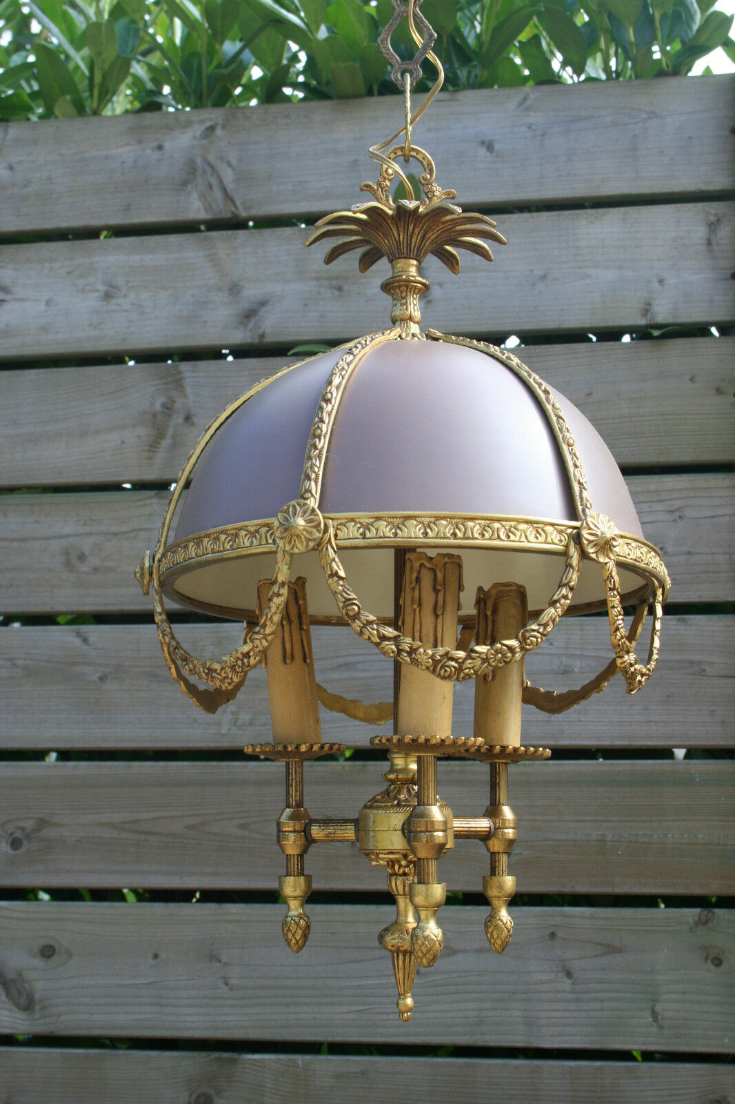 VTG french 1960 Louis XVI style chandelier brass tole 3 lights