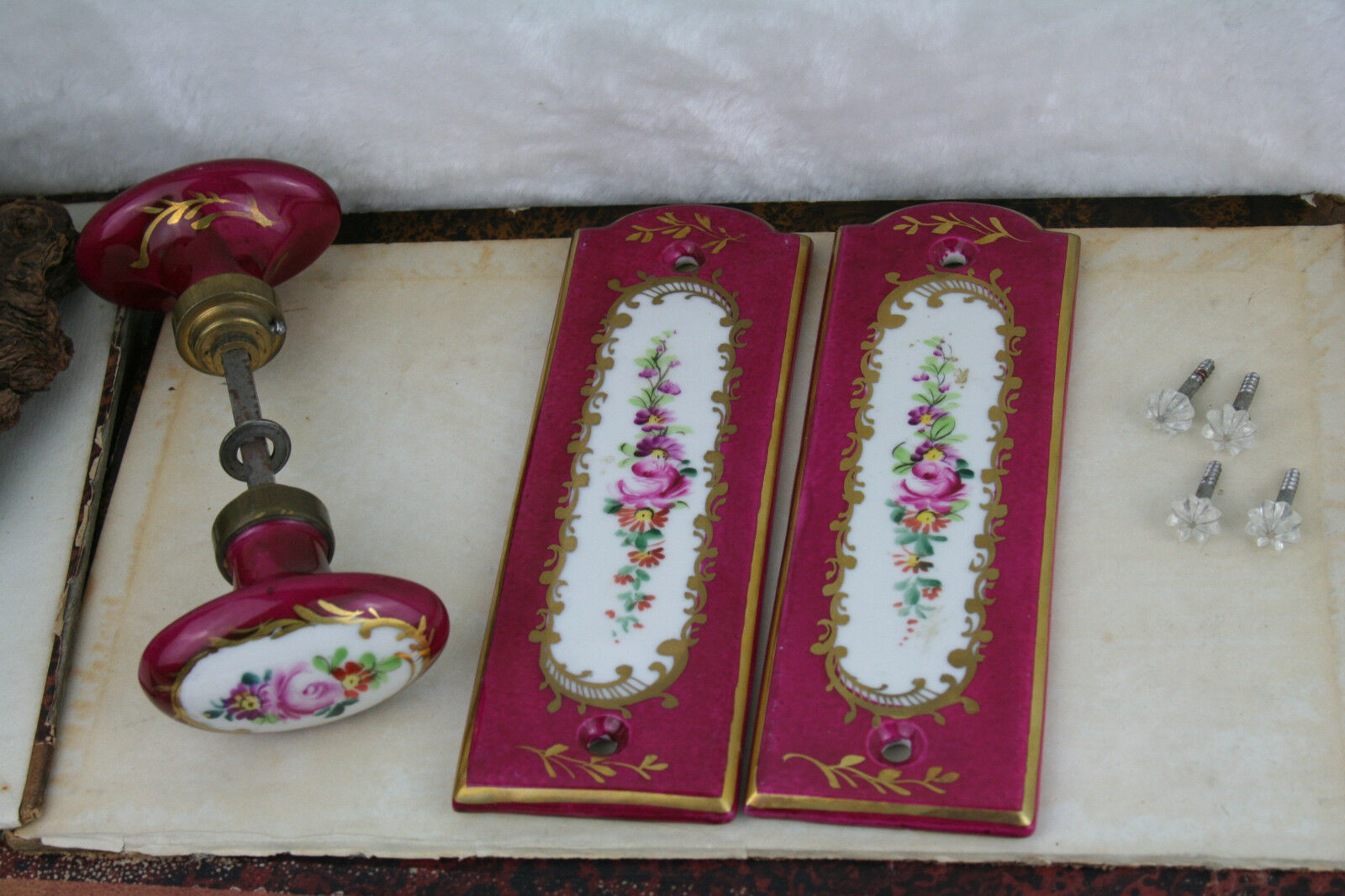 PAIR antique French porcelain limoges door plates floral + knob marked  no2