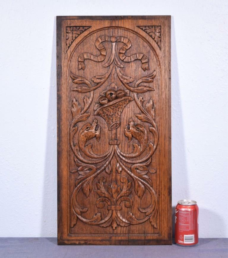 *Antique French Louis XVI Deeply Carved Architectural Panel Solid Oak w/Serpents