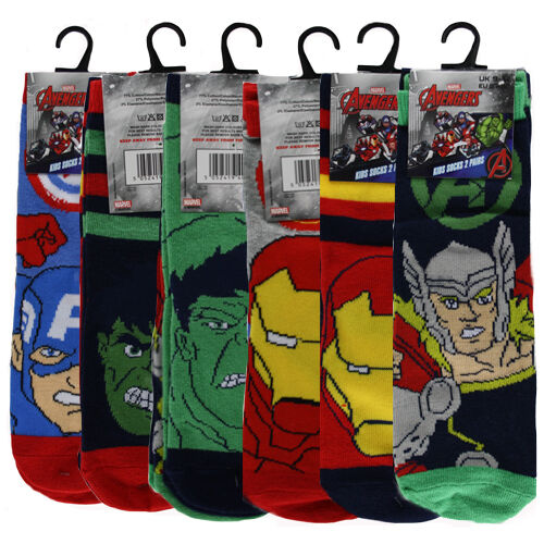 Kid's Marvel Avengers Socks 2 Pairs UK 9-12/12.5-3.5/6-8.5 EU 27-30/31-36/23/26