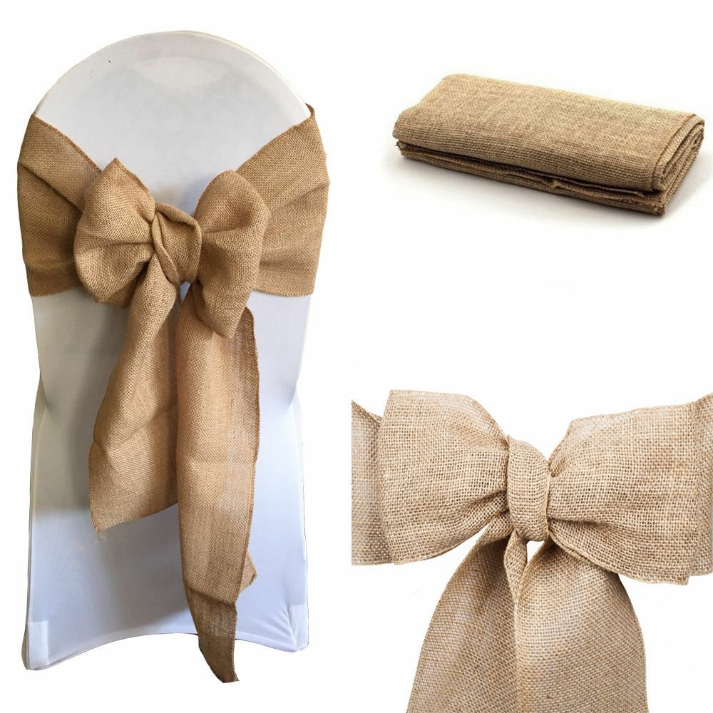 Hessian sashes chair cover bows jute burlap vintage rustic wedding party decor eur 2 26