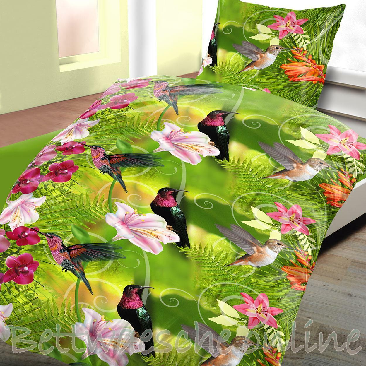linon baumwoll bettw sche 135x200 cm 2 teilig jungle blumen v gel eur 9 95 picclick de. Black Bedroom Furniture Sets. Home Design Ideas