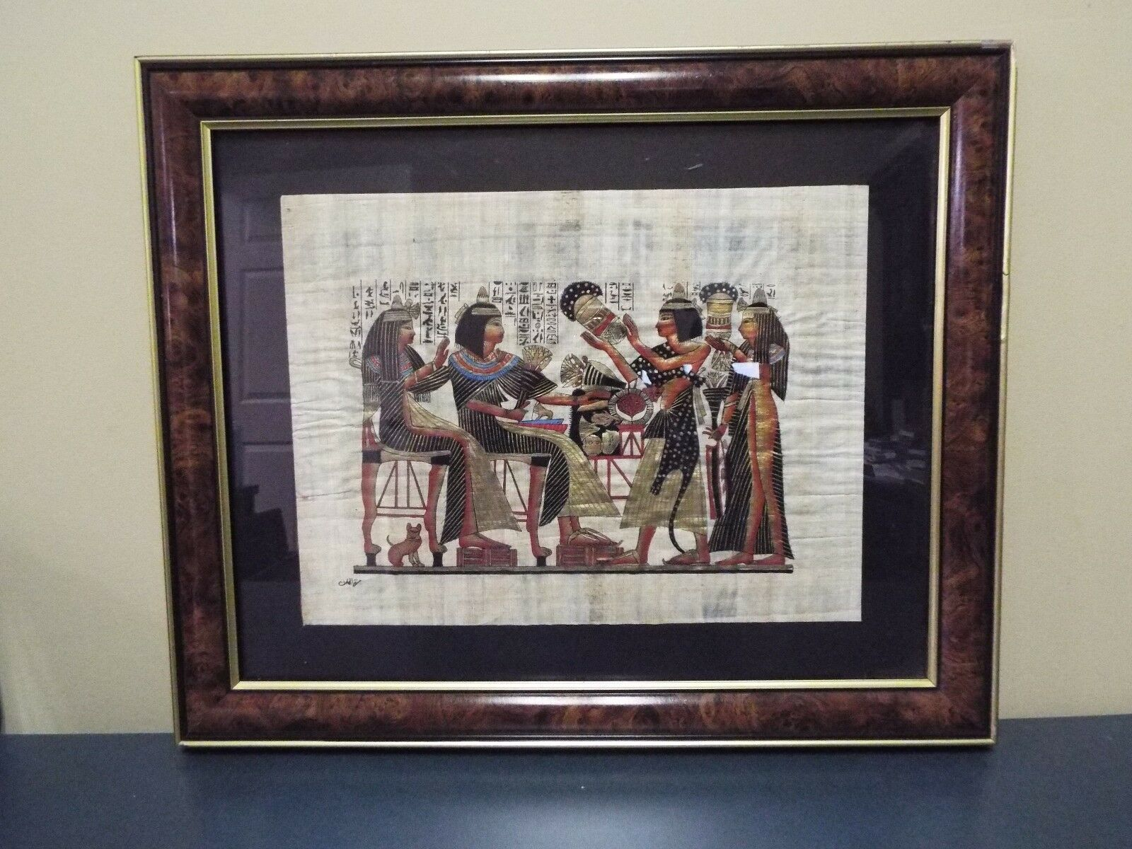 Egyptian painting on papyrus framed cad for Egyptian mural paintings