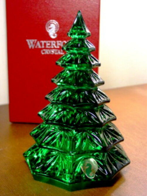Waterford Crystal Green Christmas Tree Sculpture New Box