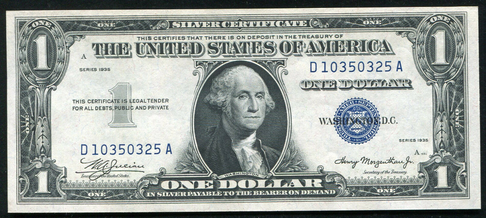 1935 Plain 1 One Dollar Silver Certificate Currency Note Gem