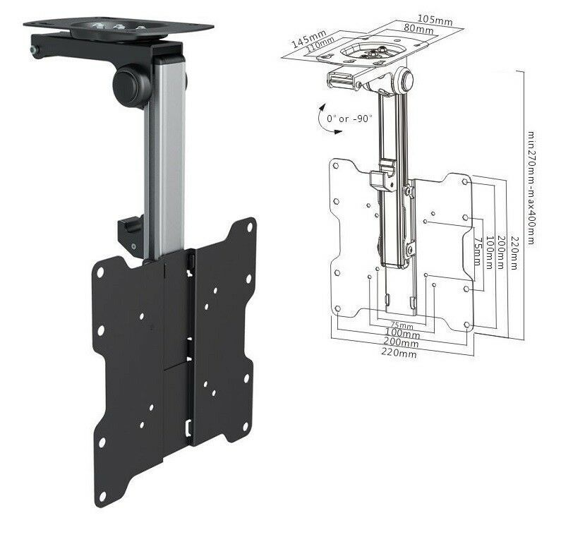 Tv Tilt Swivel Flip Down Folding Ceiling Wall Mount Bracket 17 37 Loft Roof 1 Of 1free See More