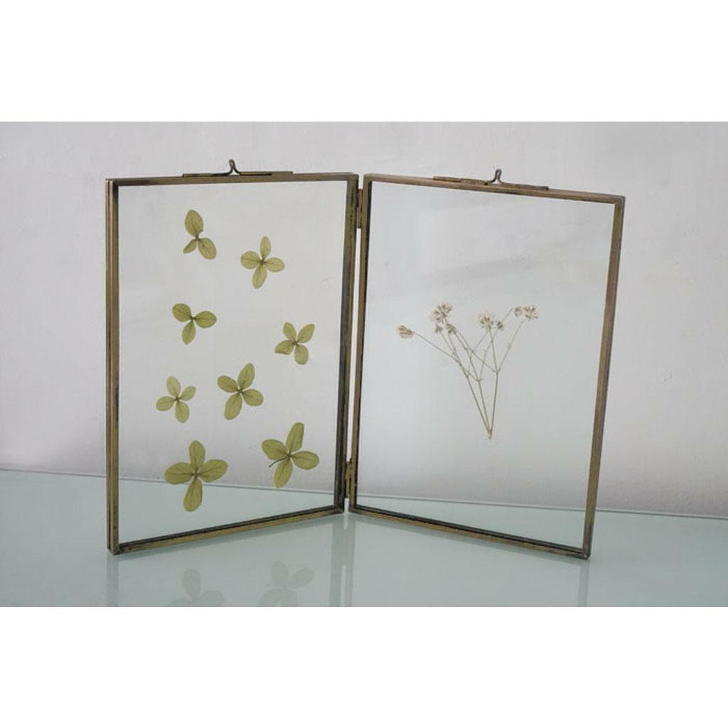 DOUBLE SIDED GLASS & Metal Photo Picture Frame Freestanding 3.5 x 5 ...