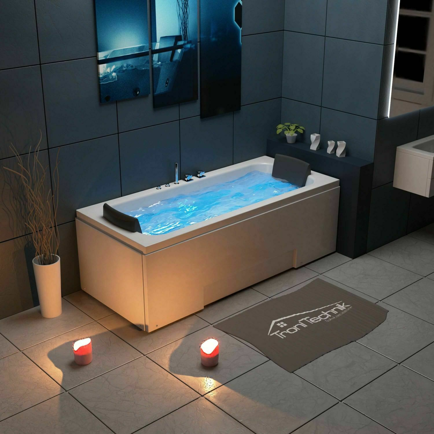 tronitechnik whirlpool badewanne 2 personen wanne eckbadewanne whirlwanne led eur 649 00. Black Bedroom Furniture Sets. Home Design Ideas