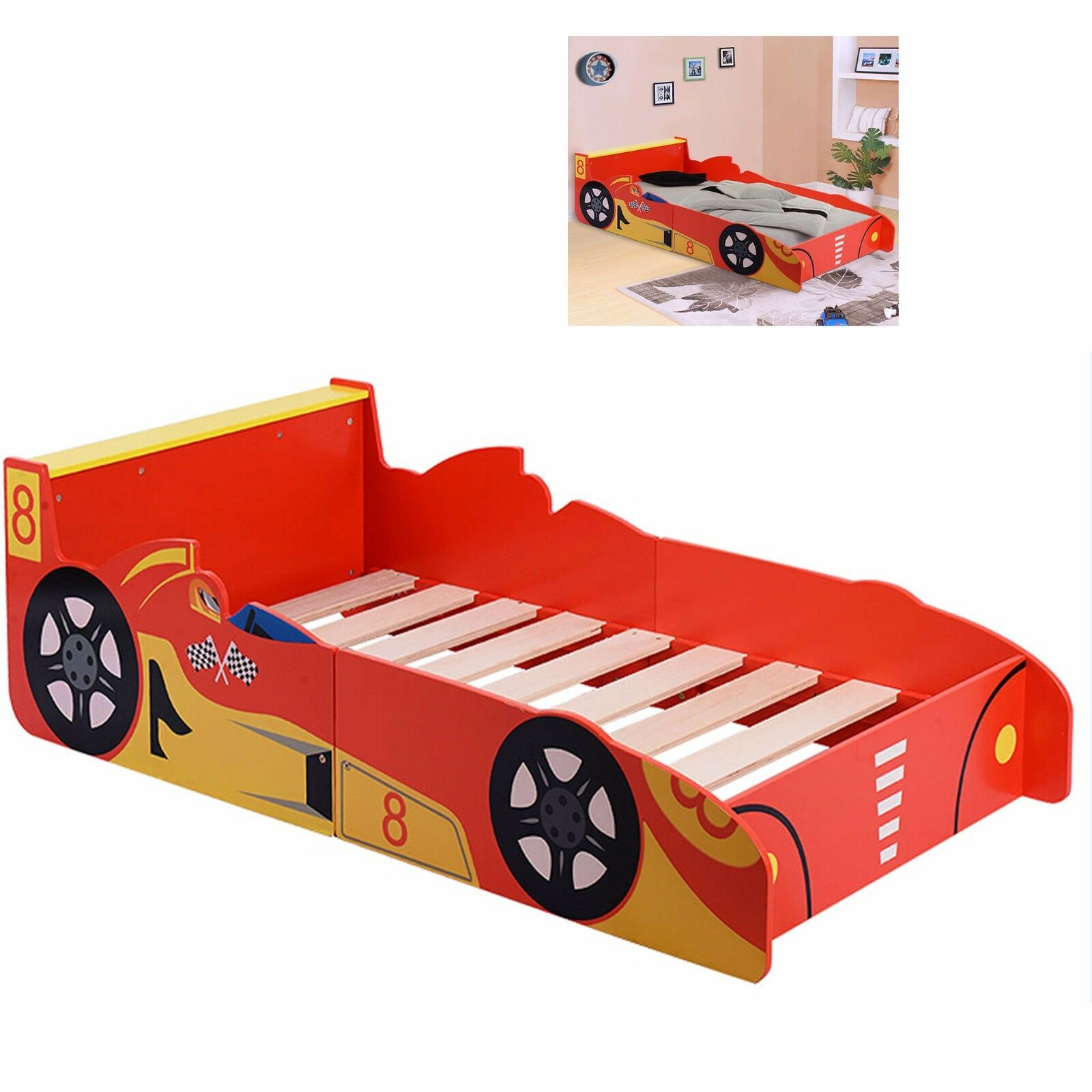 kids racing car bed children single toddler junior wooden be