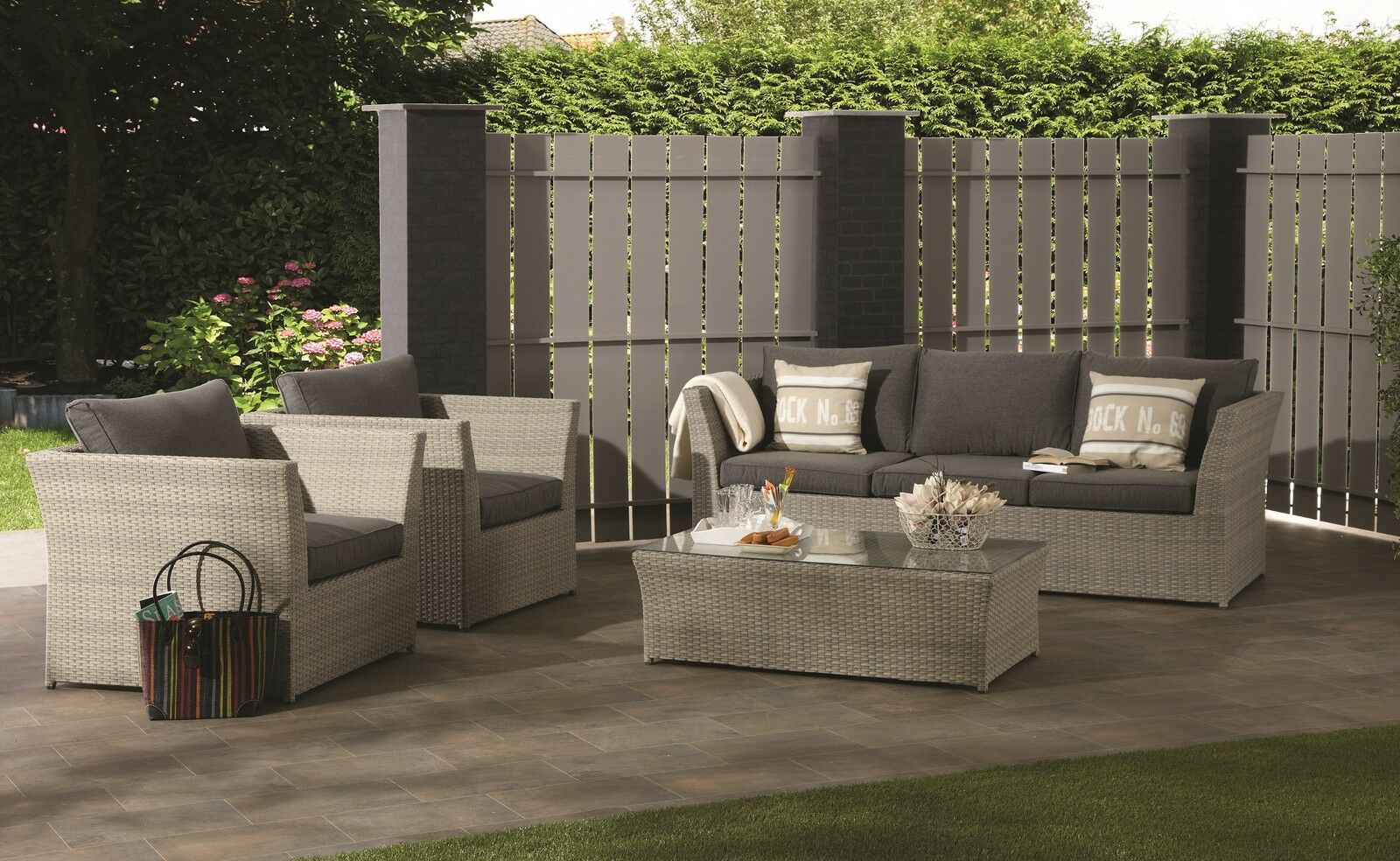 xl polyrattan lounge set tunis sitzgruppe gartenm bel garnitur garten alu gruppe eur 899 00. Black Bedroom Furniture Sets. Home Design Ideas