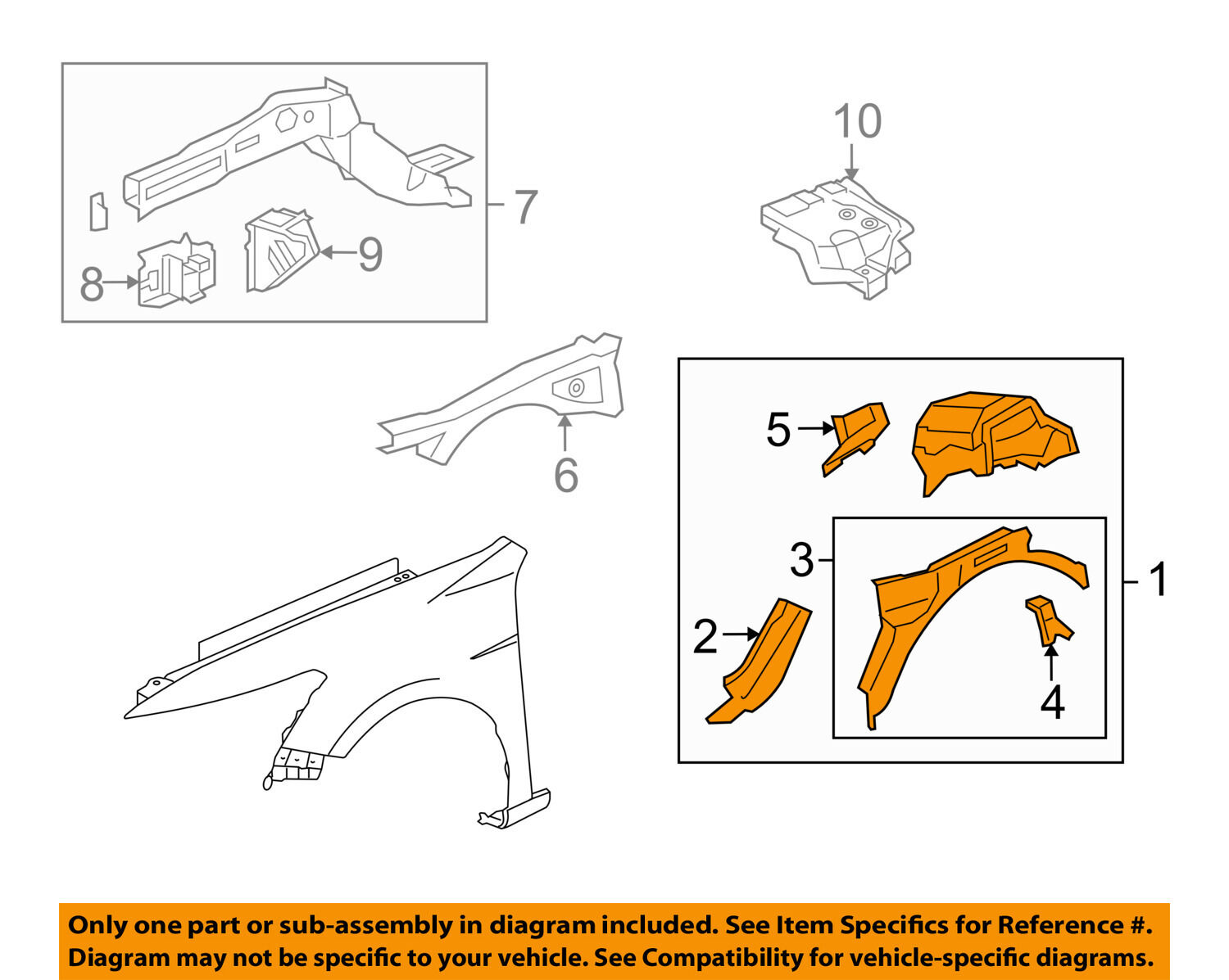 Honda Oem 08 12 Accord Front Fender Apron Panel Cover Left Diagram 1 Of 2only Available