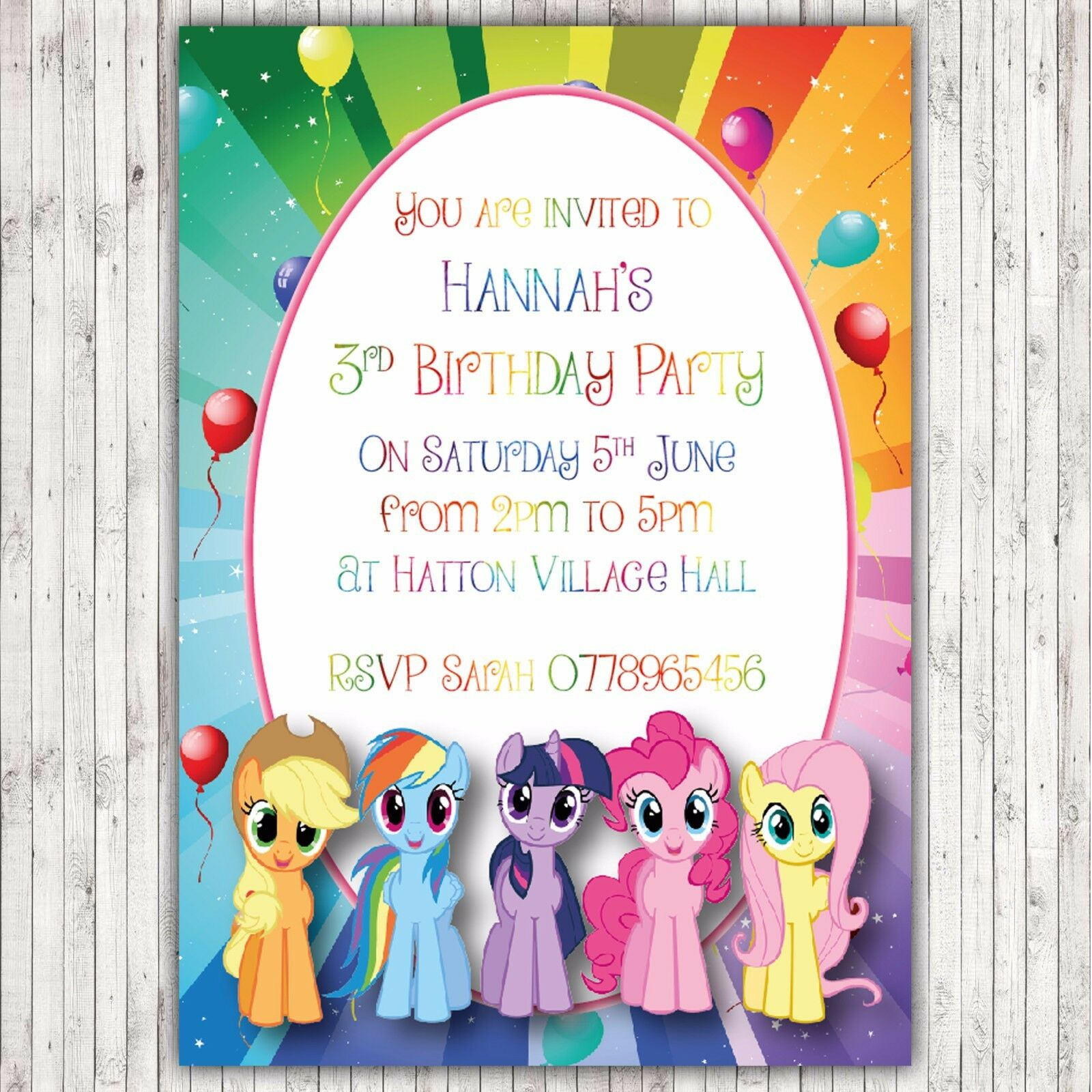 PERSONALISED BIRTHDAY Party Thank You Invitations My Little Pony ...