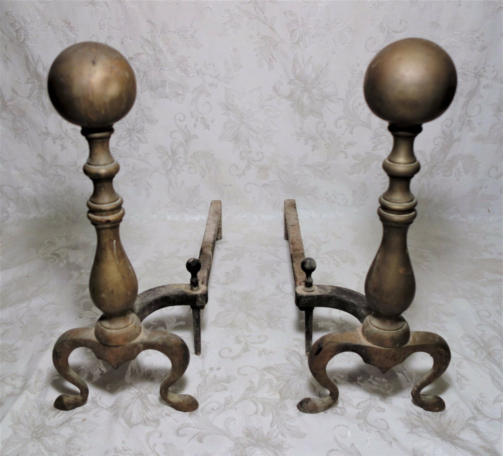 PAIR ANTIQUE Vintage Brass Cannon Ball Fireplace Tools