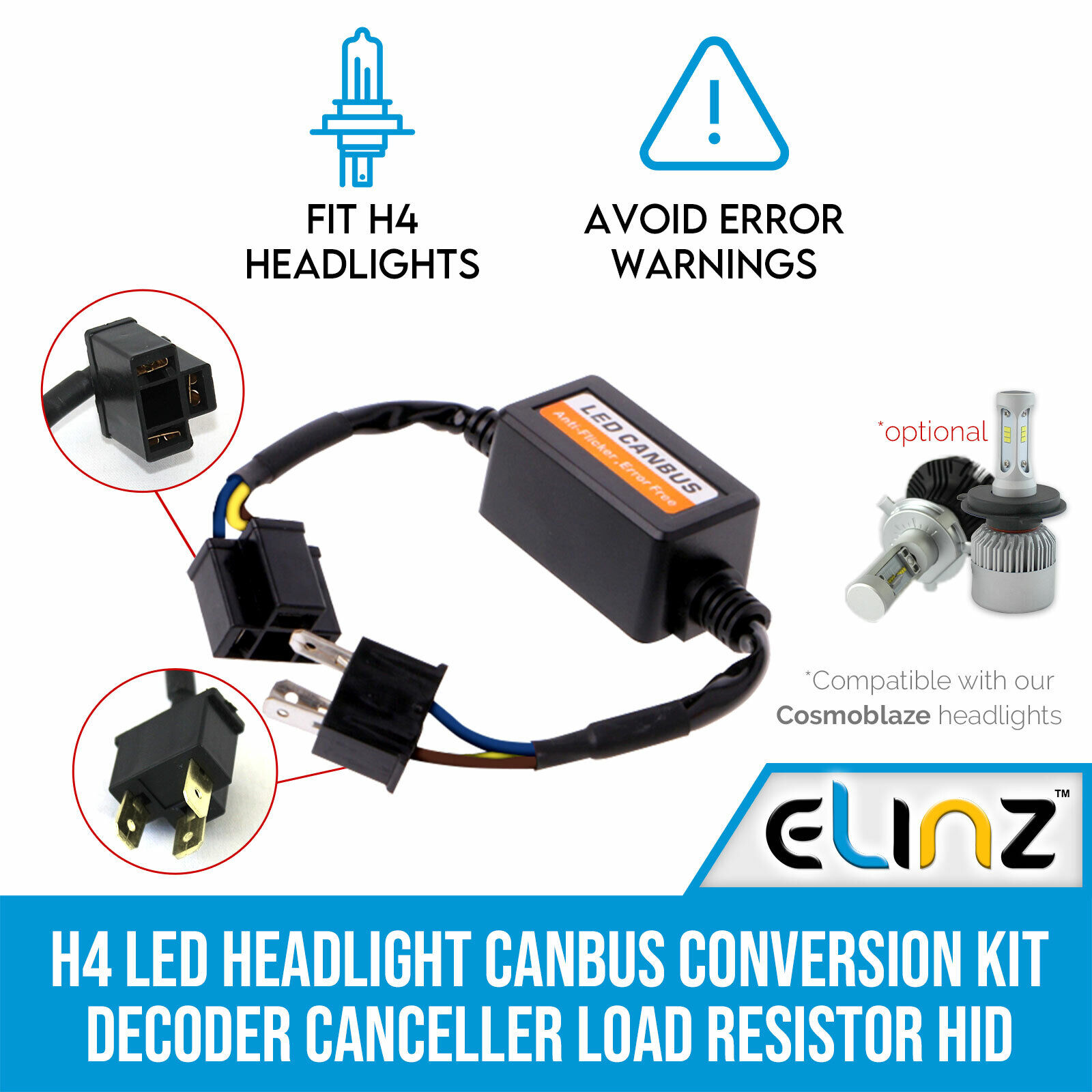 H4 Led Headlight Canbus Conversion Kit Decoder Canceller Load 12v H11 Fog Light Lamp Resistor Wiring Hid Warning Xenon 1 Of 1free Shipping