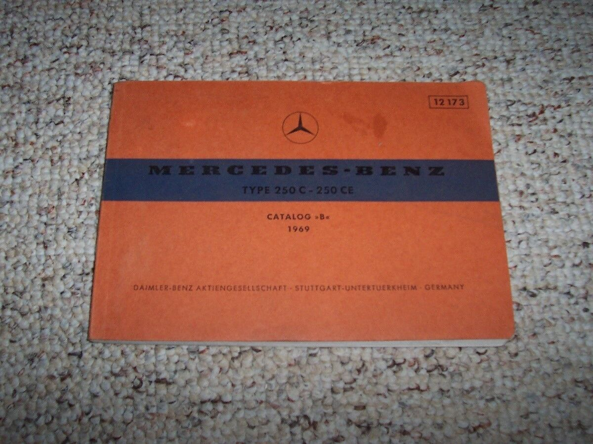 1969 Mercedes Benz 250c 250ce 250 C Ce Factory Parts Catalog Manual W114 Wiring Diagram 1 Of 1only Available