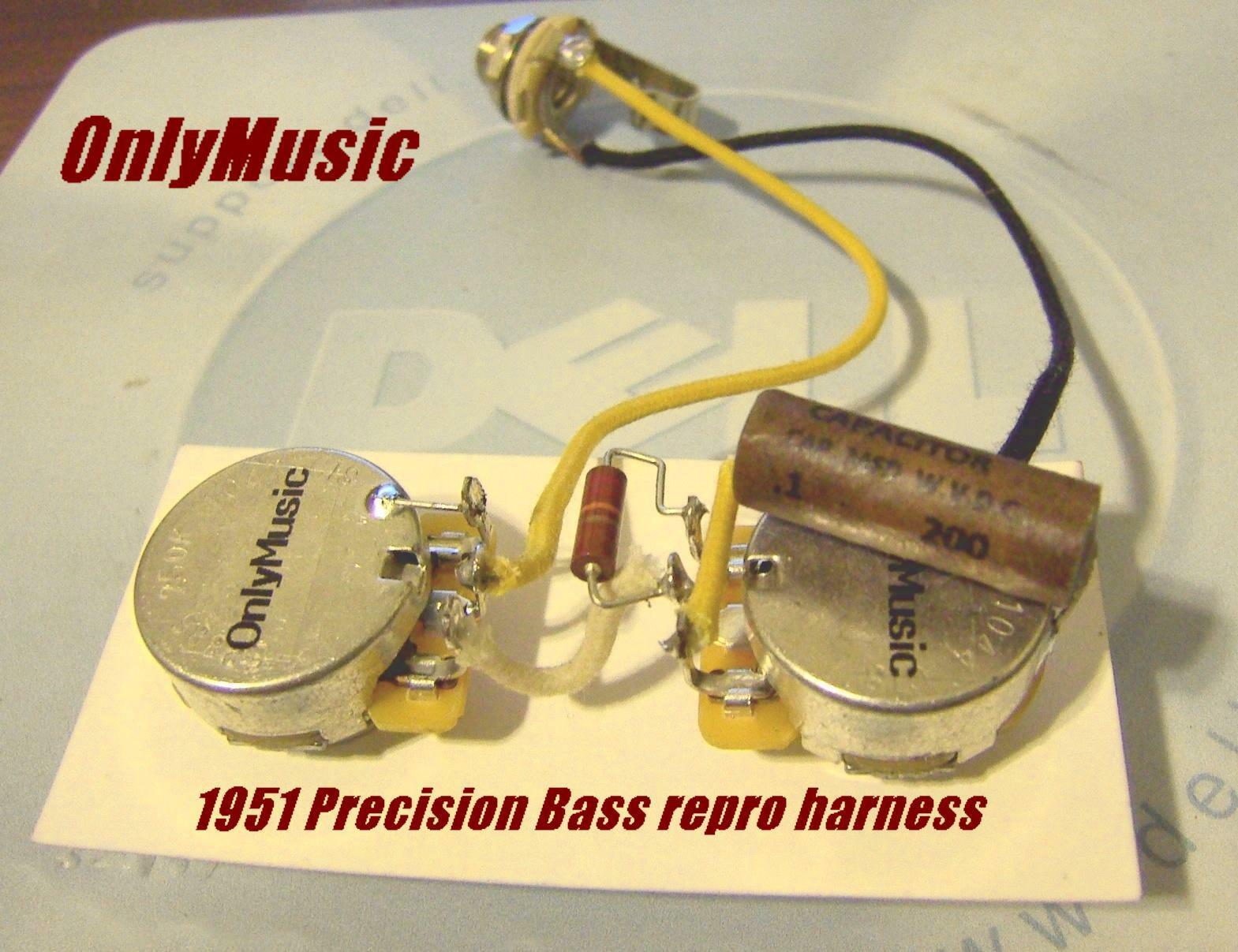 Compatible With Fender 1951 Precision Bass Repro Vintage Wiring Harness 1 Of 1only 2 Available See More