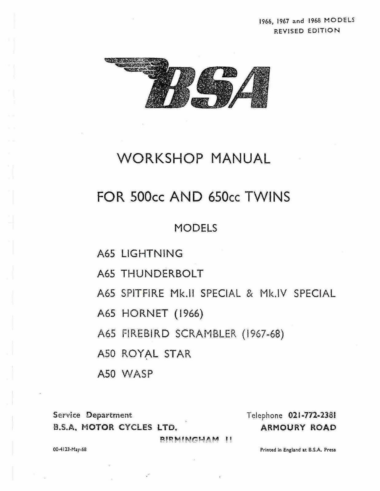 BSA workshop service manual 1966, 1967 & 1968 A50 WASP 1 of 12Only 1  available ...