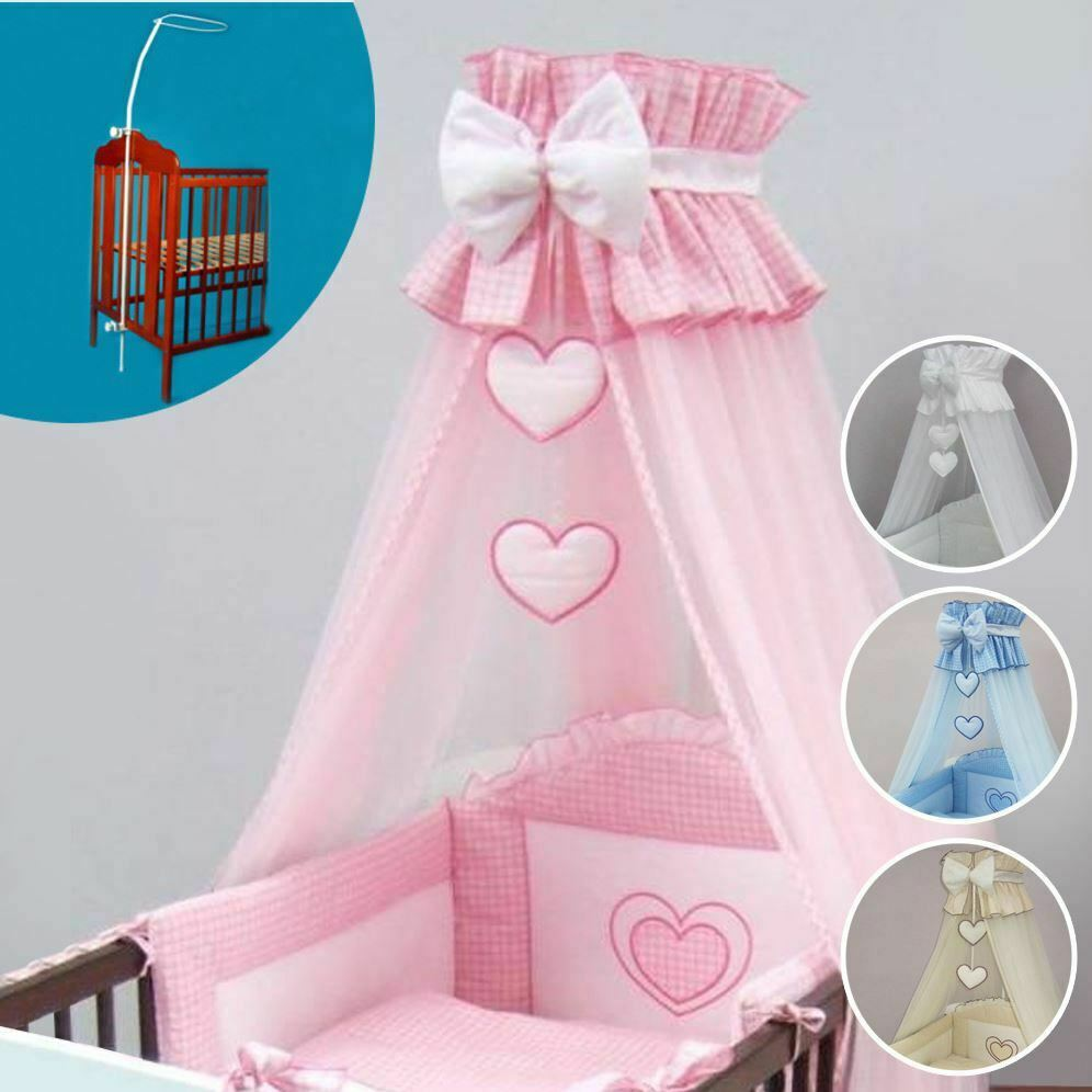Crown Cot Canopy Mosquito Net + Rod Large Fits Nursery Cot Bed Bow & Heart