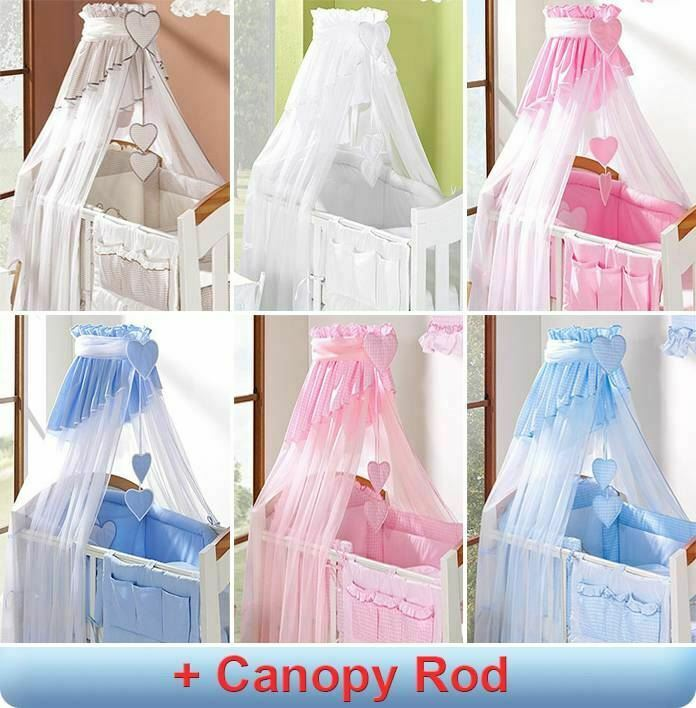 Coronet Baby Canopy Drape / Mosquito Net 320cm + Clamp Rod Fits Cot Bed - Check