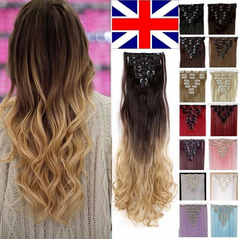 Uk 100 Real Thick Clip In Hair Extensions As Human 8pcs Full Head