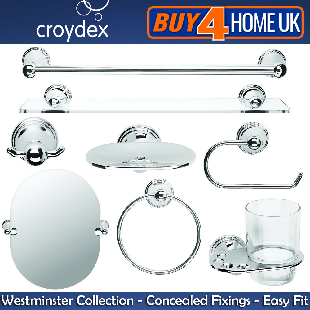 CROYDEX WESTMINSTER CHROME Wall Mounted Bathroom Accessories ...