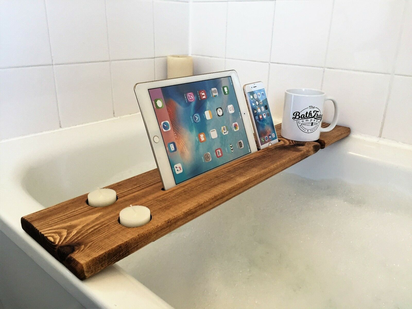 WOODEN BATH CADDY Tray Bathtub Board Bath Shelf Wine Tablet Holder ...