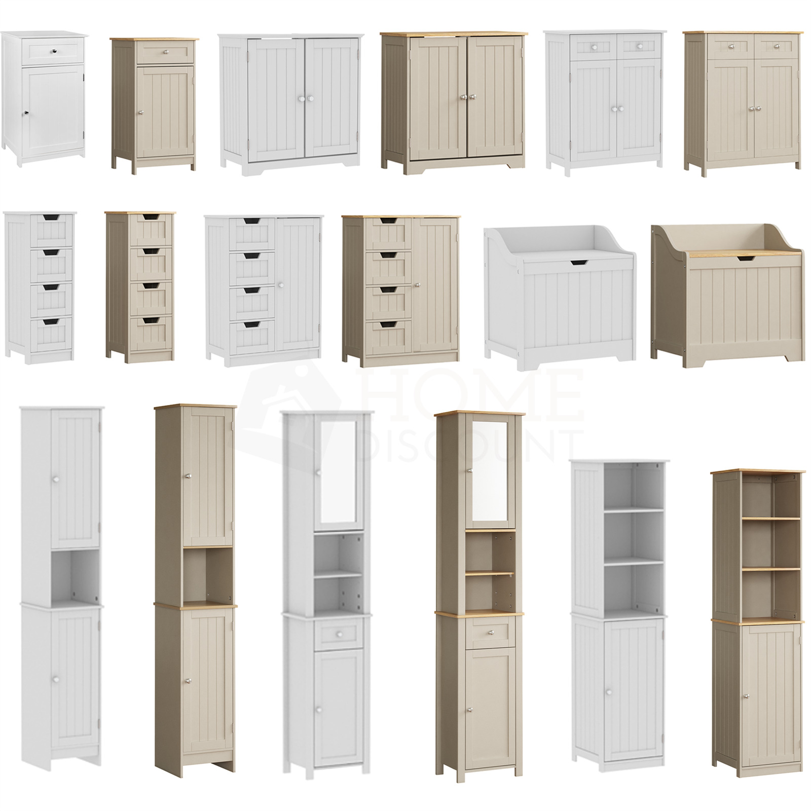 PRIANO FREESTANDING BATHROOM Cabinet Unit White Vanity Cupboard ...