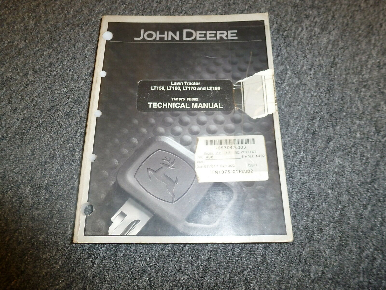 John Deere LT150 LT160 Tractor Service Shop Repair Technical Manual TM1975  1 of 1FREE Shipping ...