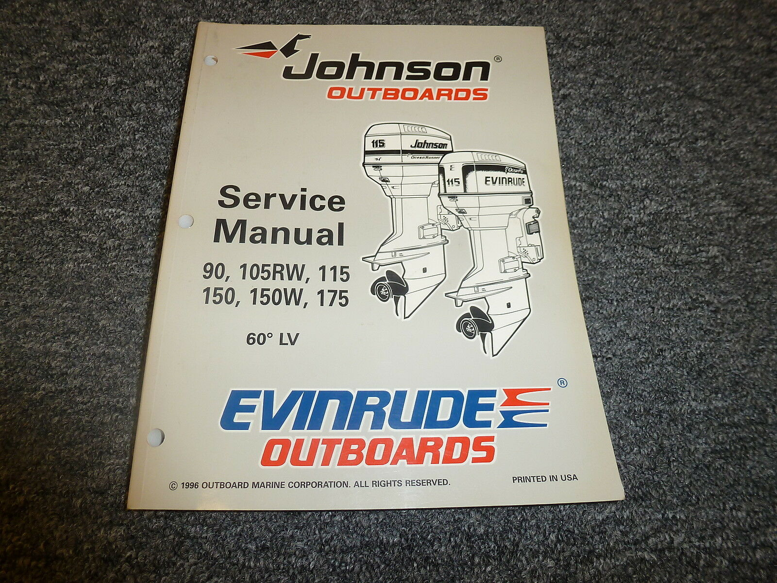 1997 Johnson Evinrude 90 105 RW 115 150 W 175 HP 60 LV Service Repair Manual  1 of 1Only 1 available ...