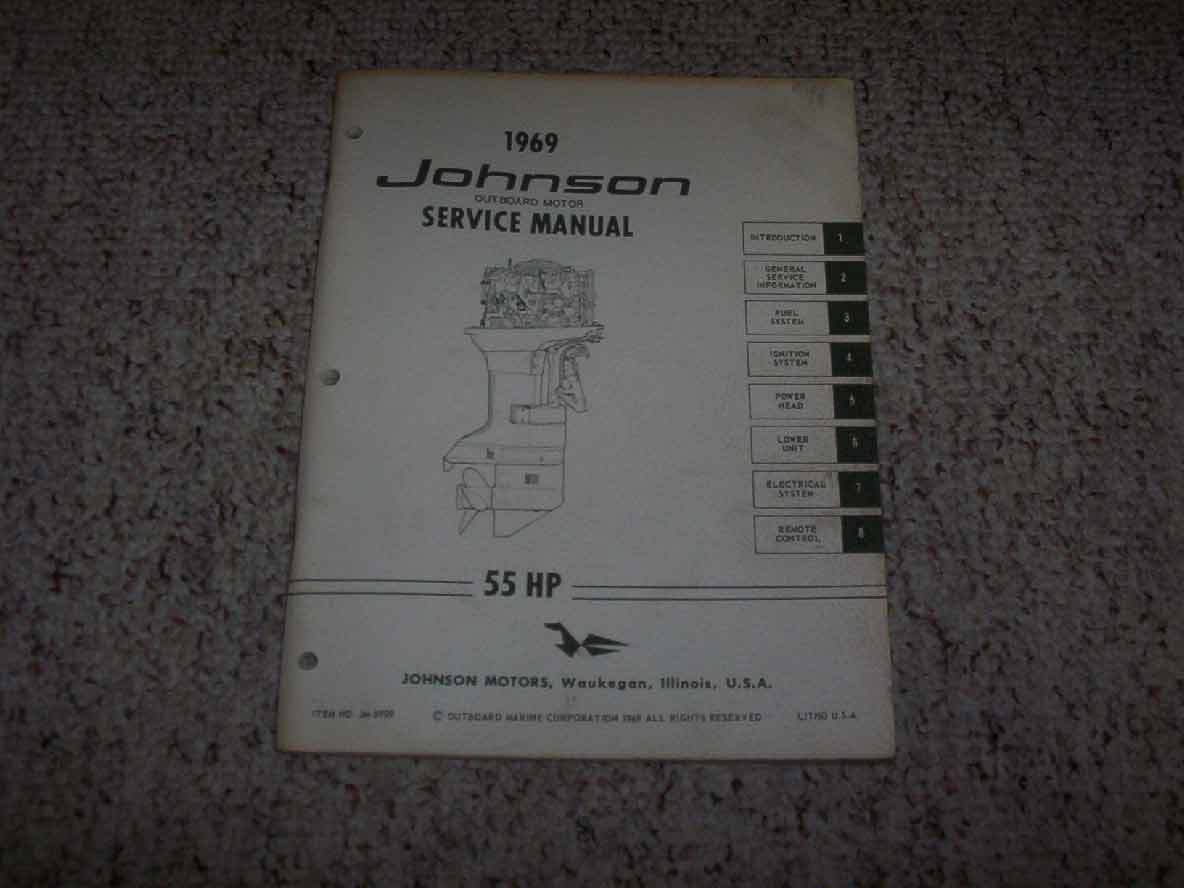 1969 Johnson 55 HP Outboard Motor Factory Orginial Shop Service Repair  Manual 1 of 1Only 1 available ...