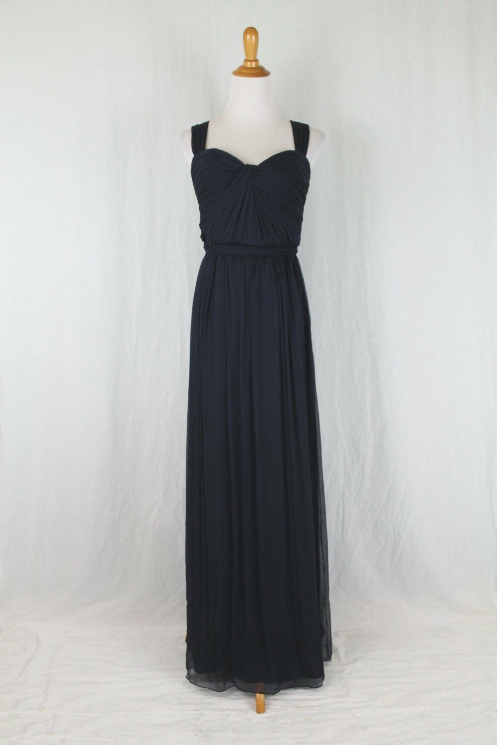 AMSALE CRINKLED SILK Gown Navy Blue Twist Front Sweetheart Neck 8 ...