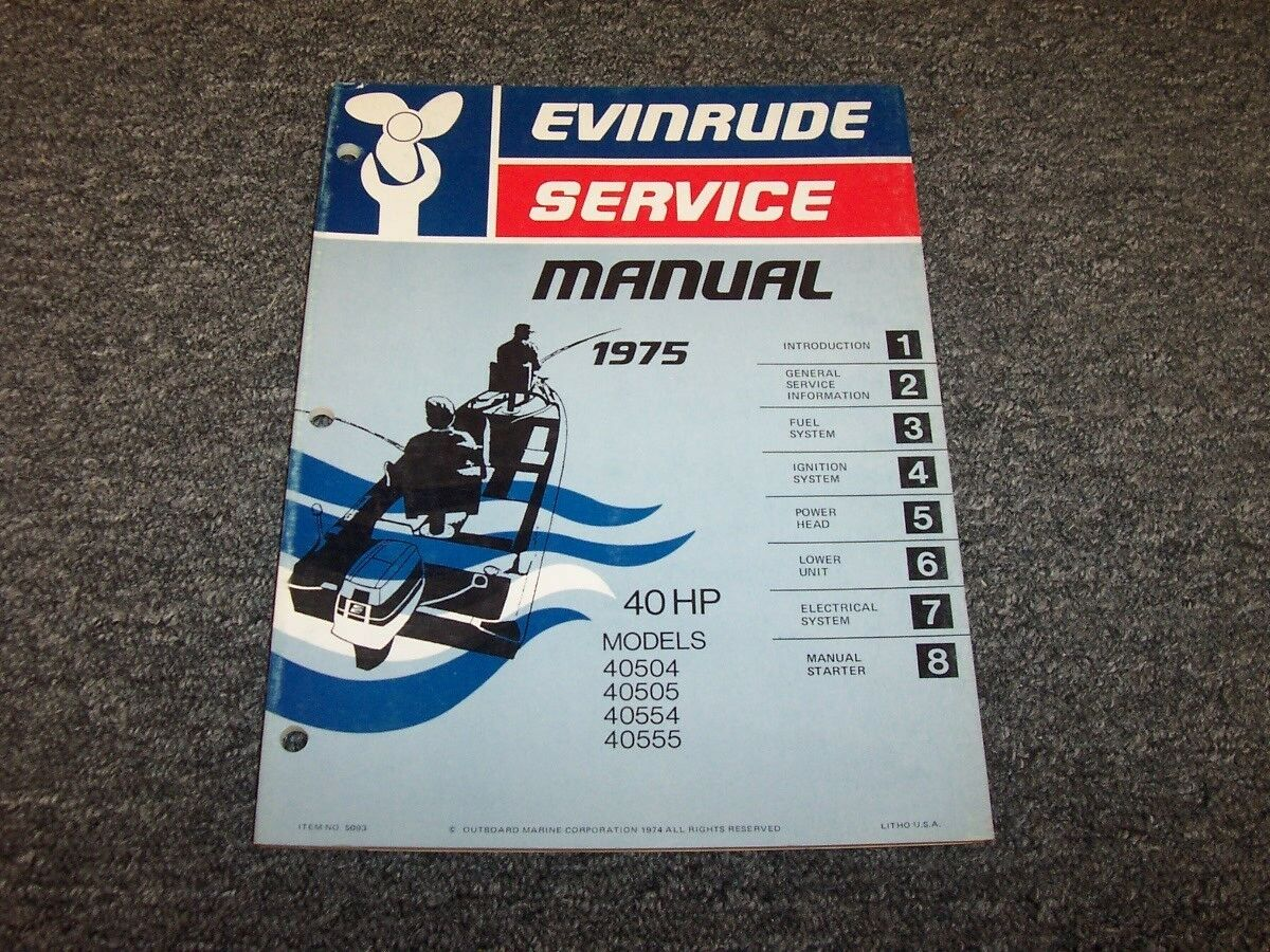 1975 Evinrude 40 HP Outboard Motor Shop Service Repair Manual Guide Book 1  of 1Only 1 available ...