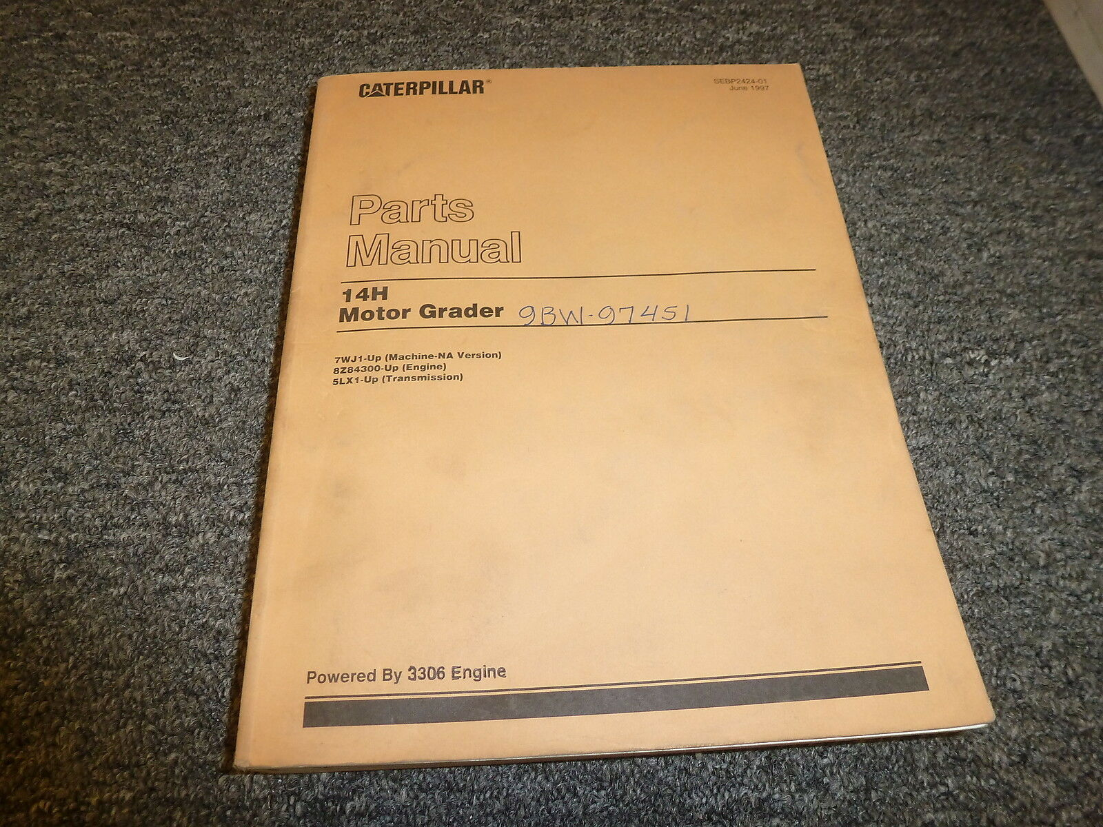 Caterpillar Cat 14H Motor Grader w/ 3306 Engine Parts Catalog Manual  7WJ1-Up 1 of 1Only 1 available See More