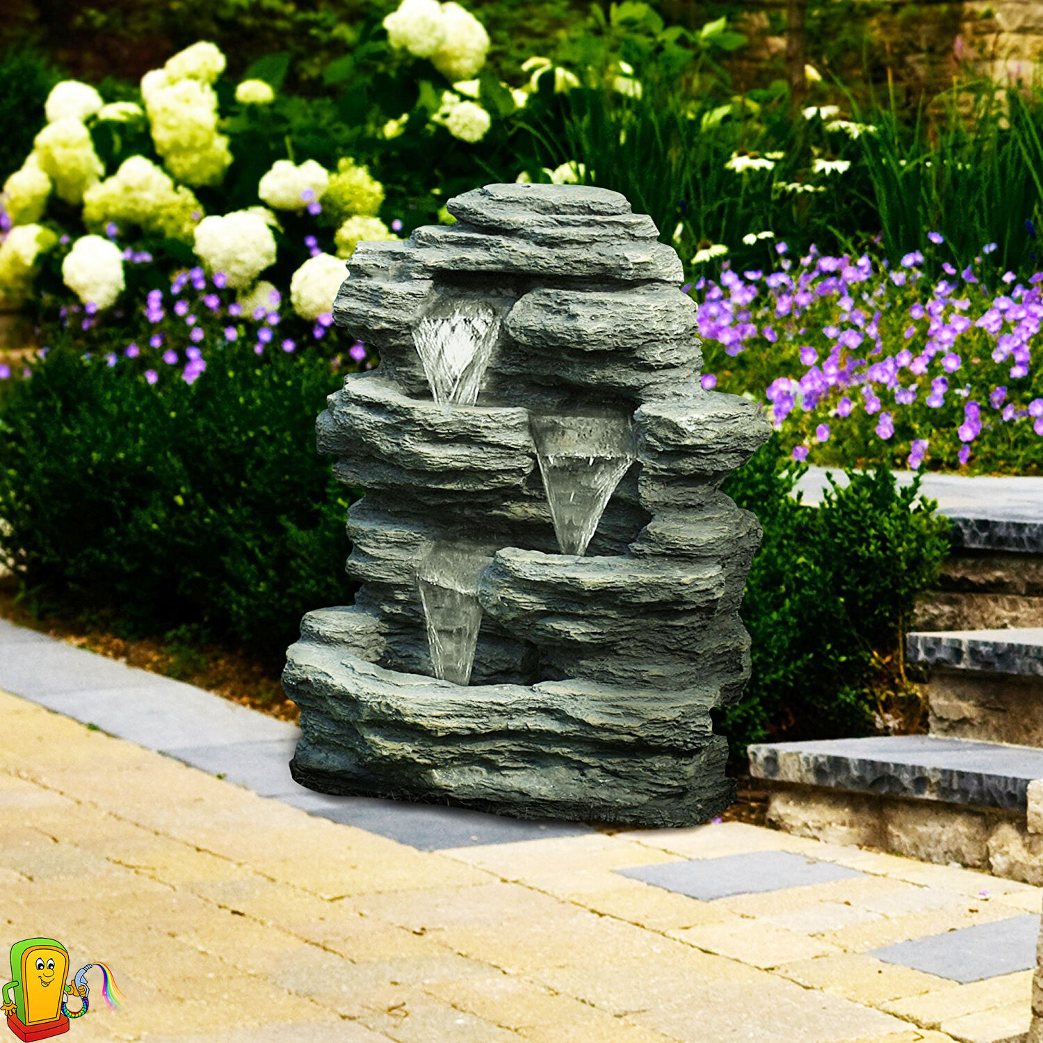 outdoor waterfall fountain garden backyard patio home decor 3 tier