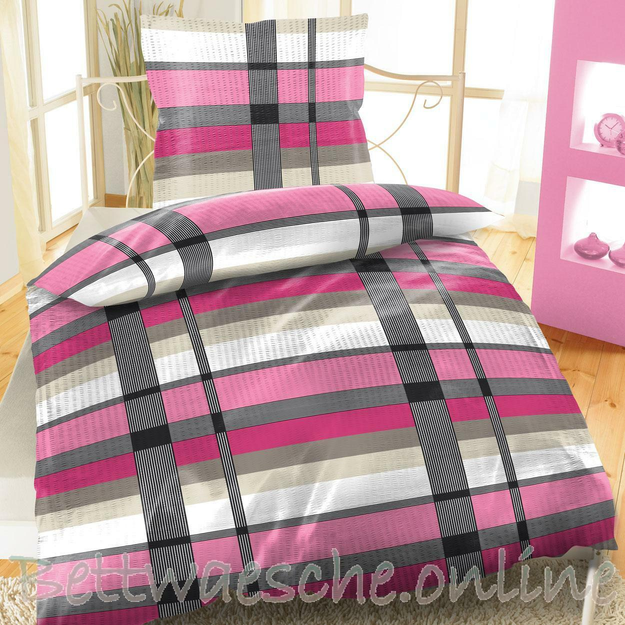 seersucker baumwolle bettw sche 135x200 cm 2 teilig kariert pink eur 9 95 picclick de. Black Bedroom Furniture Sets. Home Design Ideas