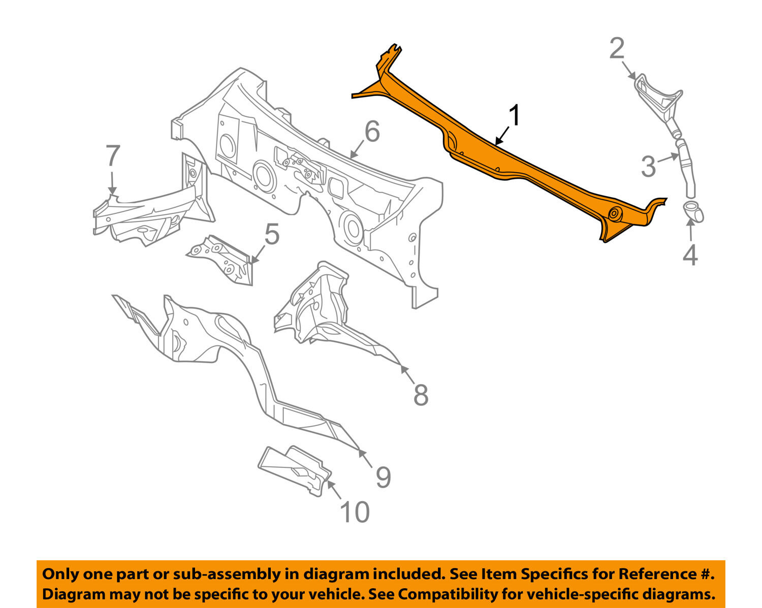 Bmw Oem 03 08 760li Cowl Panel Windshield Wiper Motor Cover V12 Engine Diagram 51717065284 1 Of 2only Available