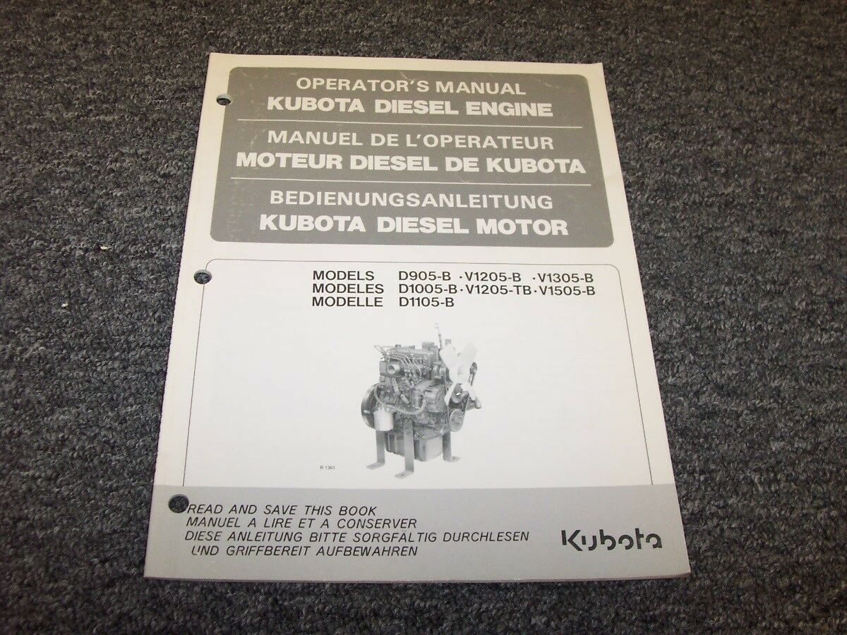 Kubota D905B V1205B V1305B D1005B V1205TB Diesel Engine Owner Operator  Manual 1 of 1Only 1 available ...