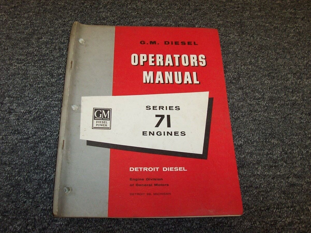 GM General Motors Detroit Diesel Series 71 71T Engines Owner Operator Manual  1 of 1Only 1 available See More