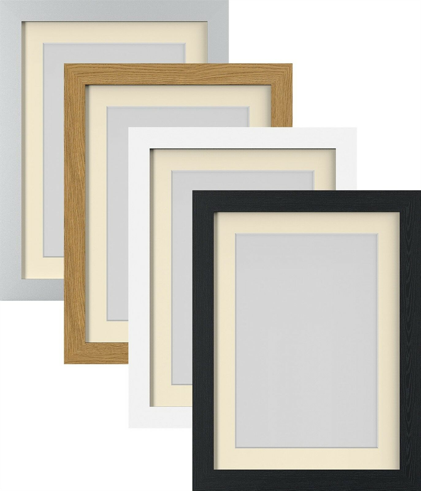 WHITE BLACK OAK Silver Large Photo Picture Frame Poster Frames with ...
