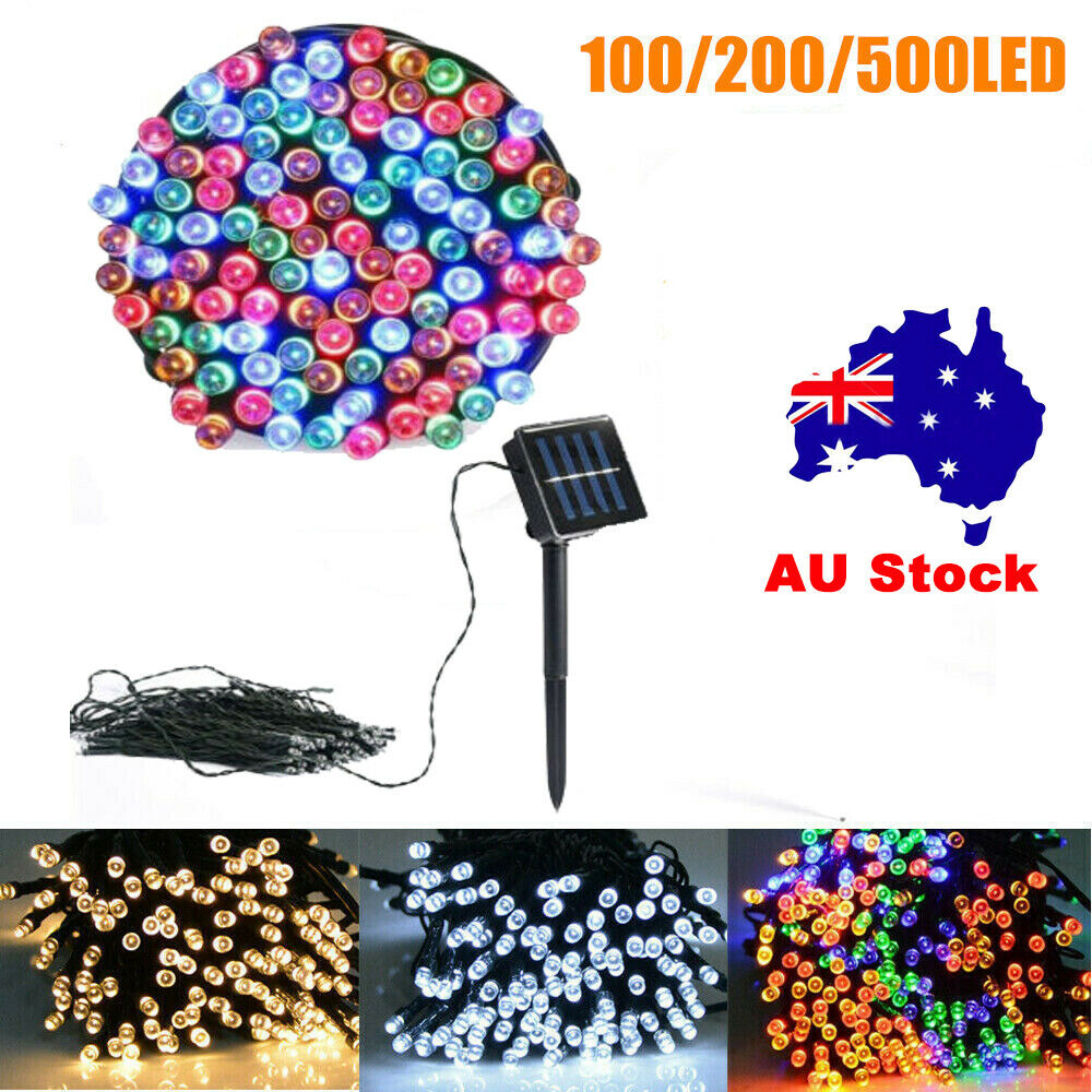 Outdoor Party Lights Au: 100/200/500LED STRING SOLAR/ELECTRIC Fairy Lights Garden