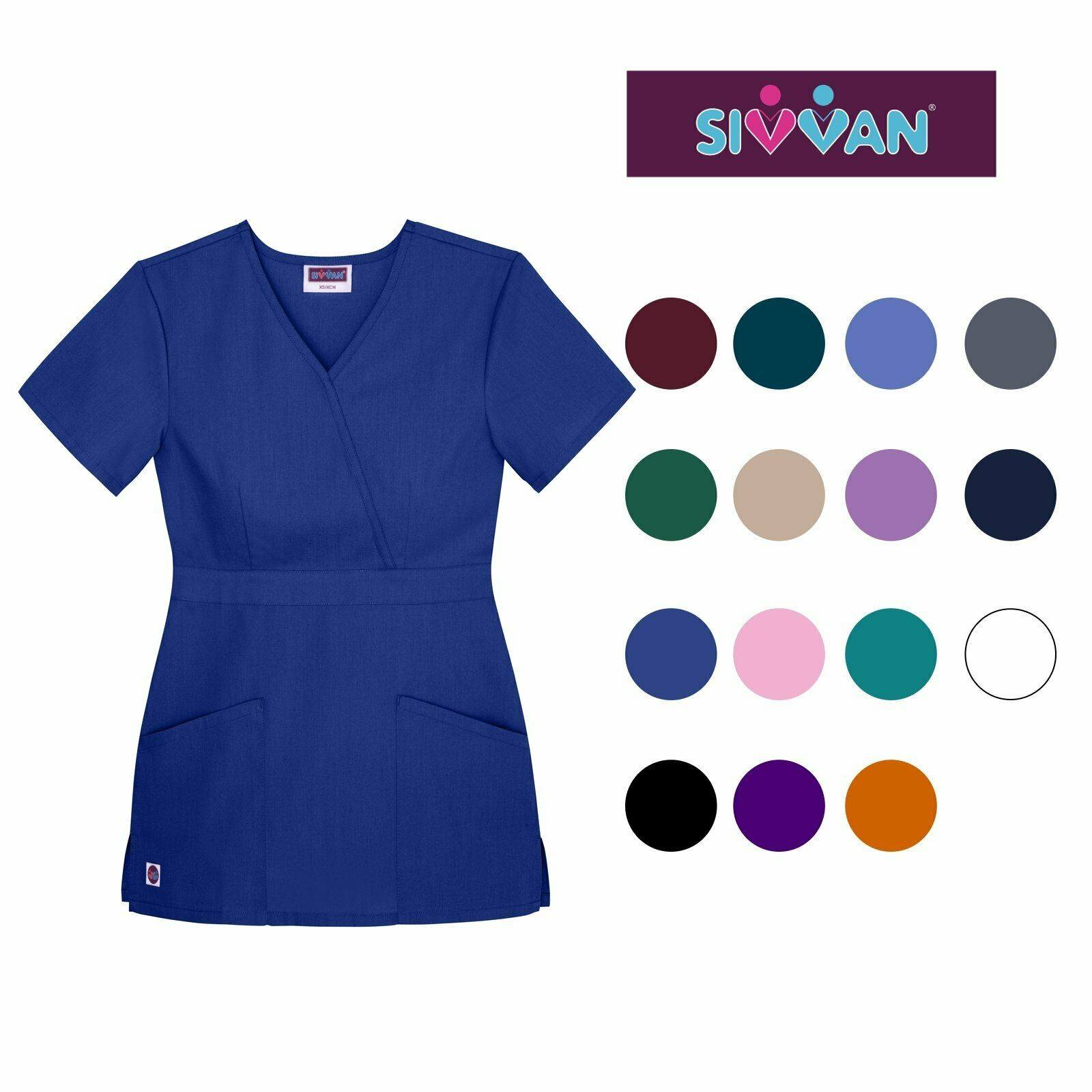 SIVVAN WOMEN\'S SCRUBS Mock Wrap Top (Available in 12 Colors ...