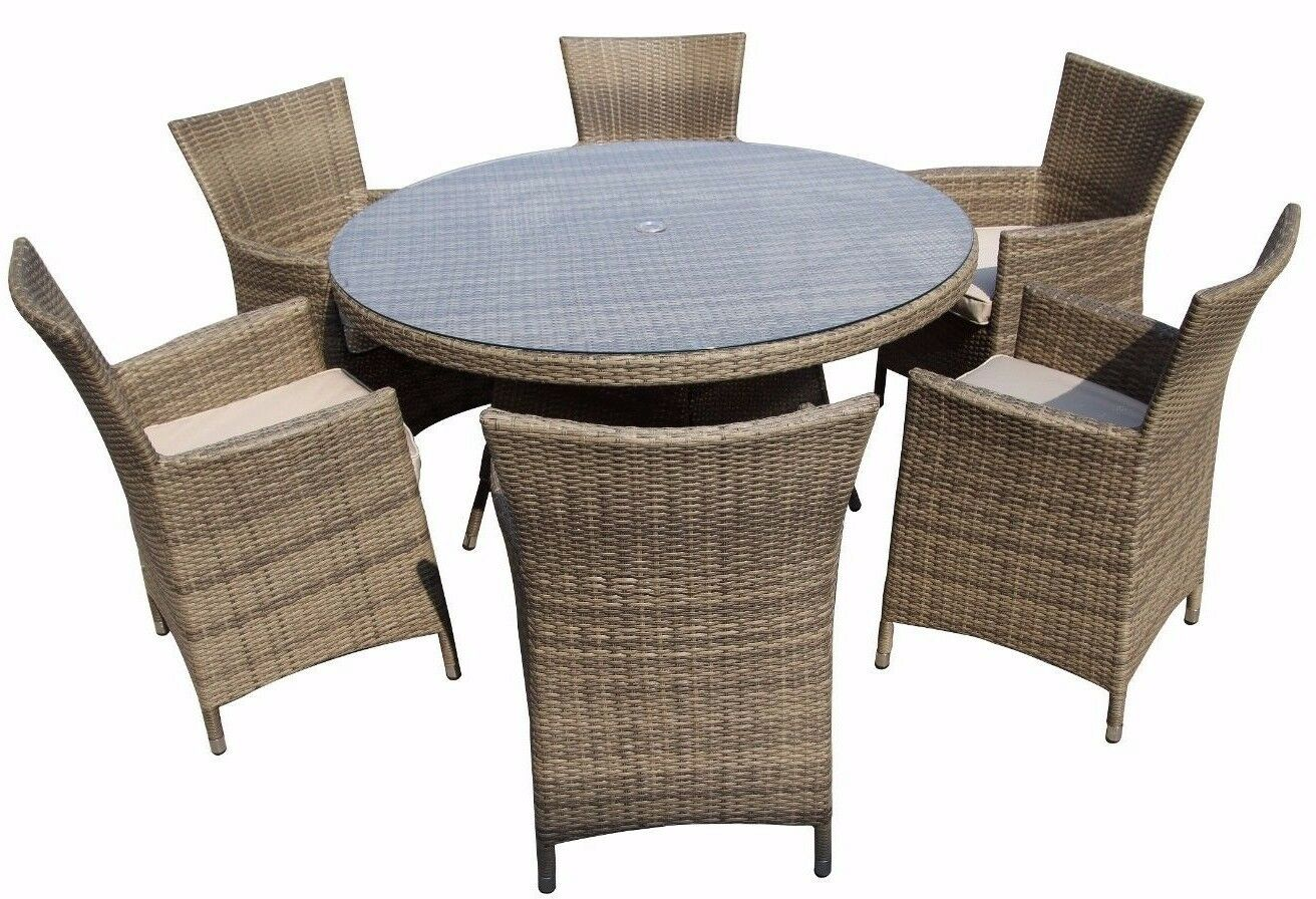 6 seater rattan garden furniture dining set chairs table for Table and 6 chairs uk