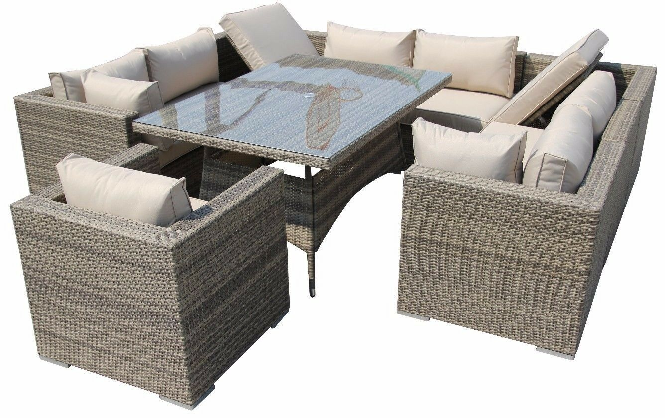 Rattan Outdoor Corner Sofa Dining Set Garden Furniture In Mix Brown Nature Picclick Uk