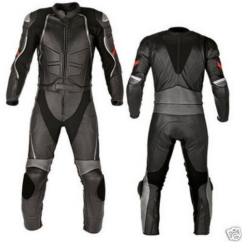 Black Motorcycle Leather Suit Motorbike Leather Jacket Biker Trouser Men XS-3XL