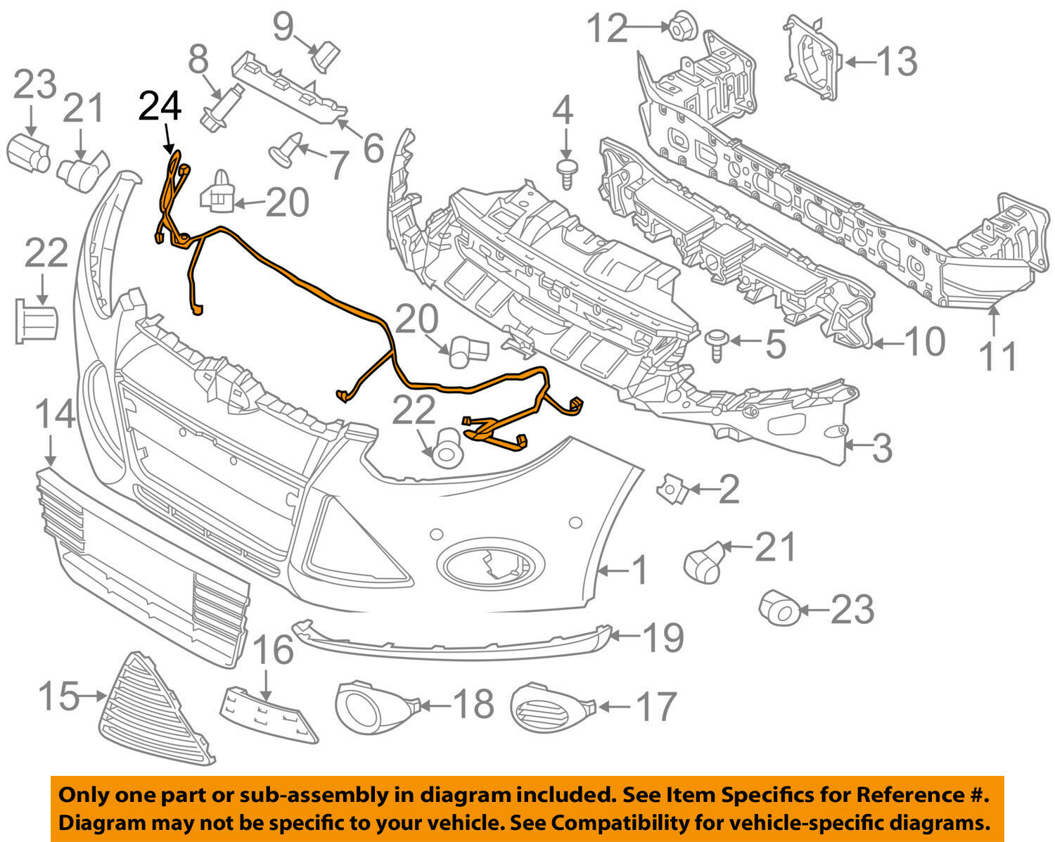 Ford Oem 12 15 Focus Front Bumper Wire Harness Cv6z15k867a 4218 Wiring 1 Of 2only Available