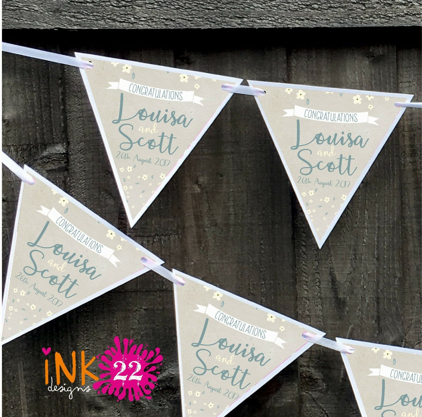 Personalised Wedding Engagement Bunting Banner Decoration Fl Rustic 1 Of 3free Shipping