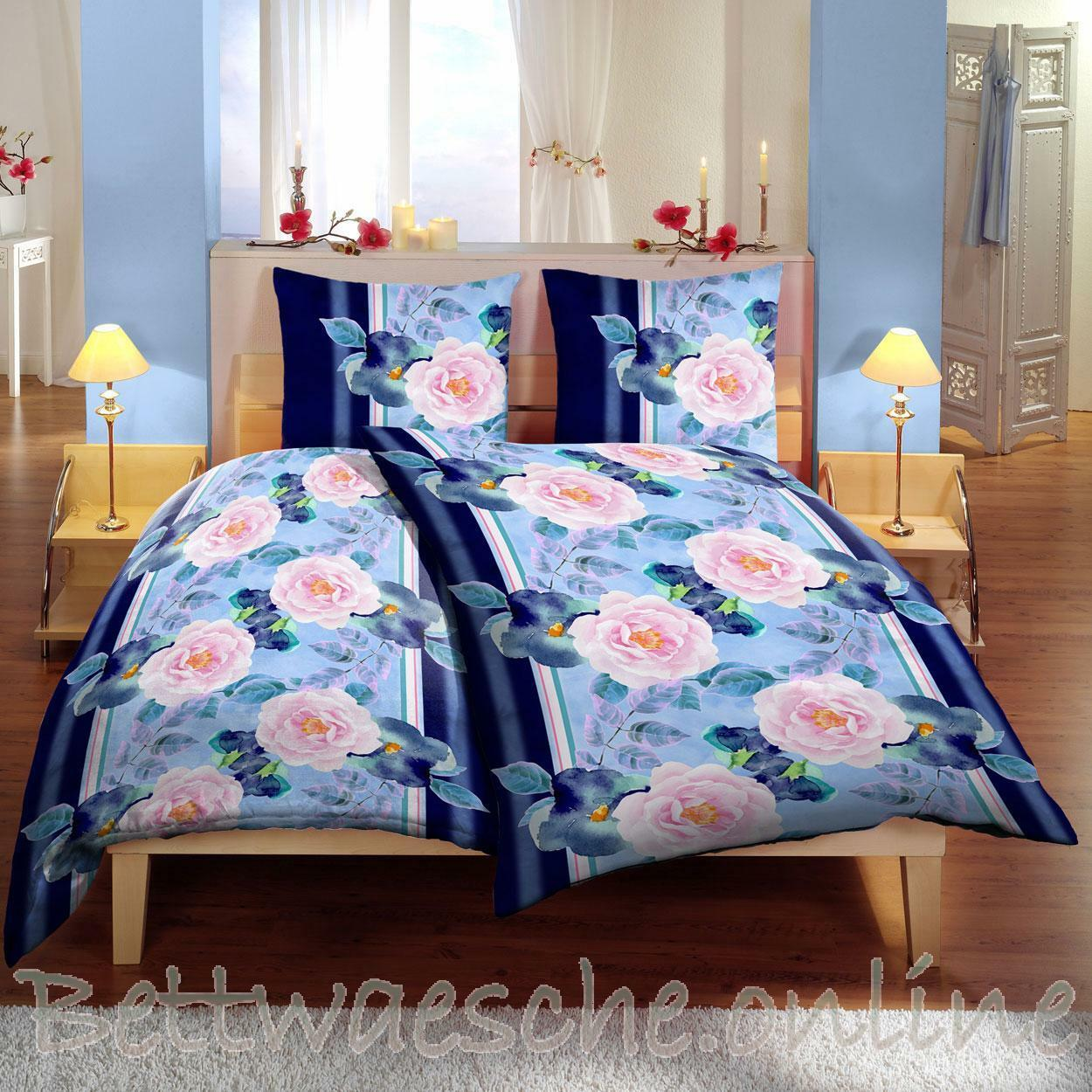 mikrofaser bettw sche 135x200 cm 4 teilig blumen floral. Black Bedroom Furniture Sets. Home Design Ideas