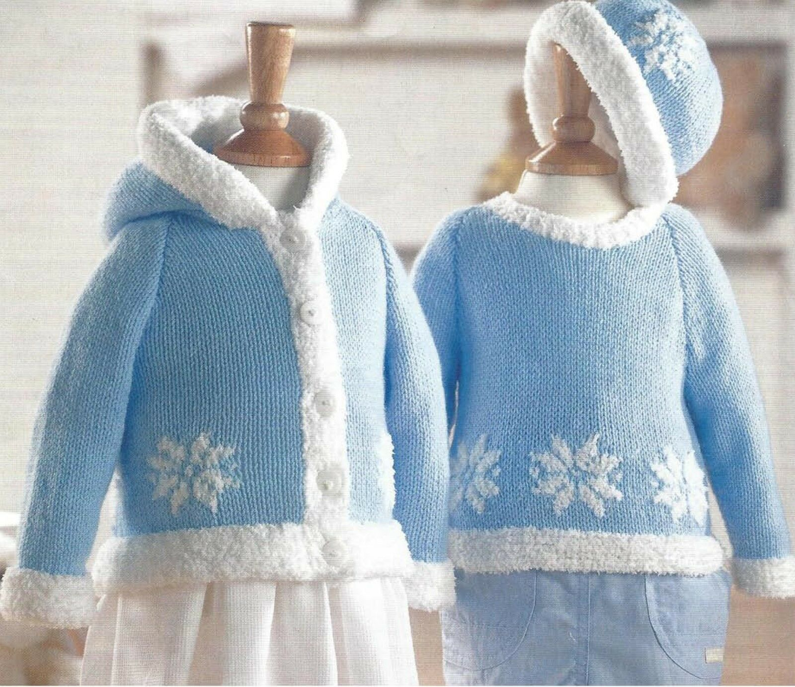 Knitting Pattern Christmas Cardigan : Baby Childs Christmas Sweater Jacket & Hat Knitting Pattern 16/26 Inch (9...