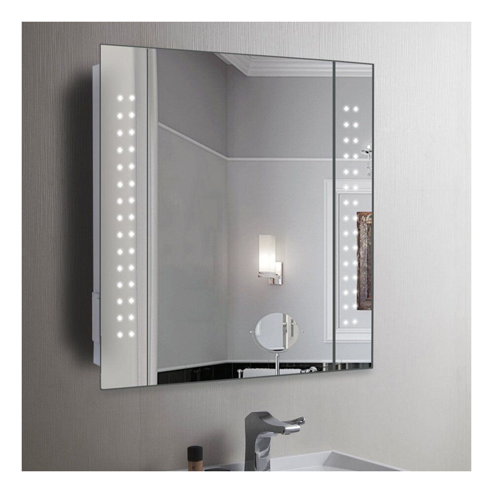 60 x led illuminated bathroom mirror cabinet shaver for Bathroom cabinets led