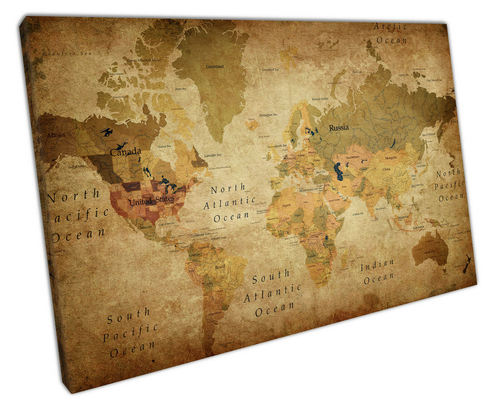 RETRO VINTAGE WORLD Map Canvas Wall Art Picture Large 75 X 50 Cm ...